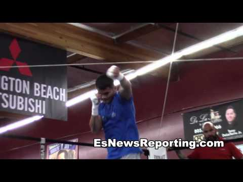 maidana in camp for mayweather 2 fight almost breaks trainers wrist with a punch EsNews