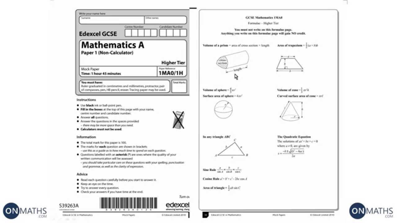 GCSE Maths Edexcel Official Mock 1H Higher Non-Calculator (Walking Talking  Exam Practice)