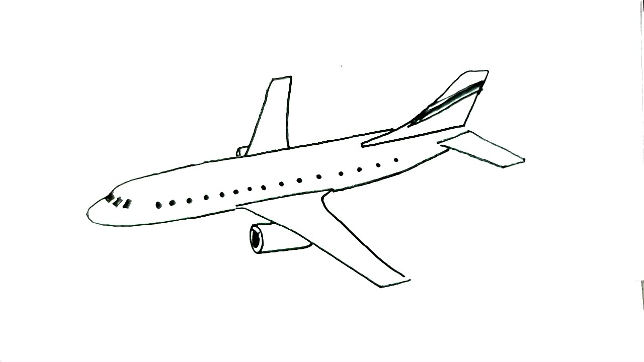 how to draw an aeroplane in easy steps for children beginners plane