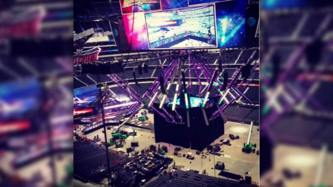 Backstage News Wwe Curtains Off The Ring In At T Stadium While Working On Secret You
