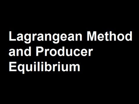 Lagrangean Method and Producer Equilibrium