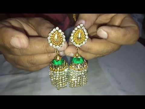 How to make silk thread jhumka with metal lace /DIY