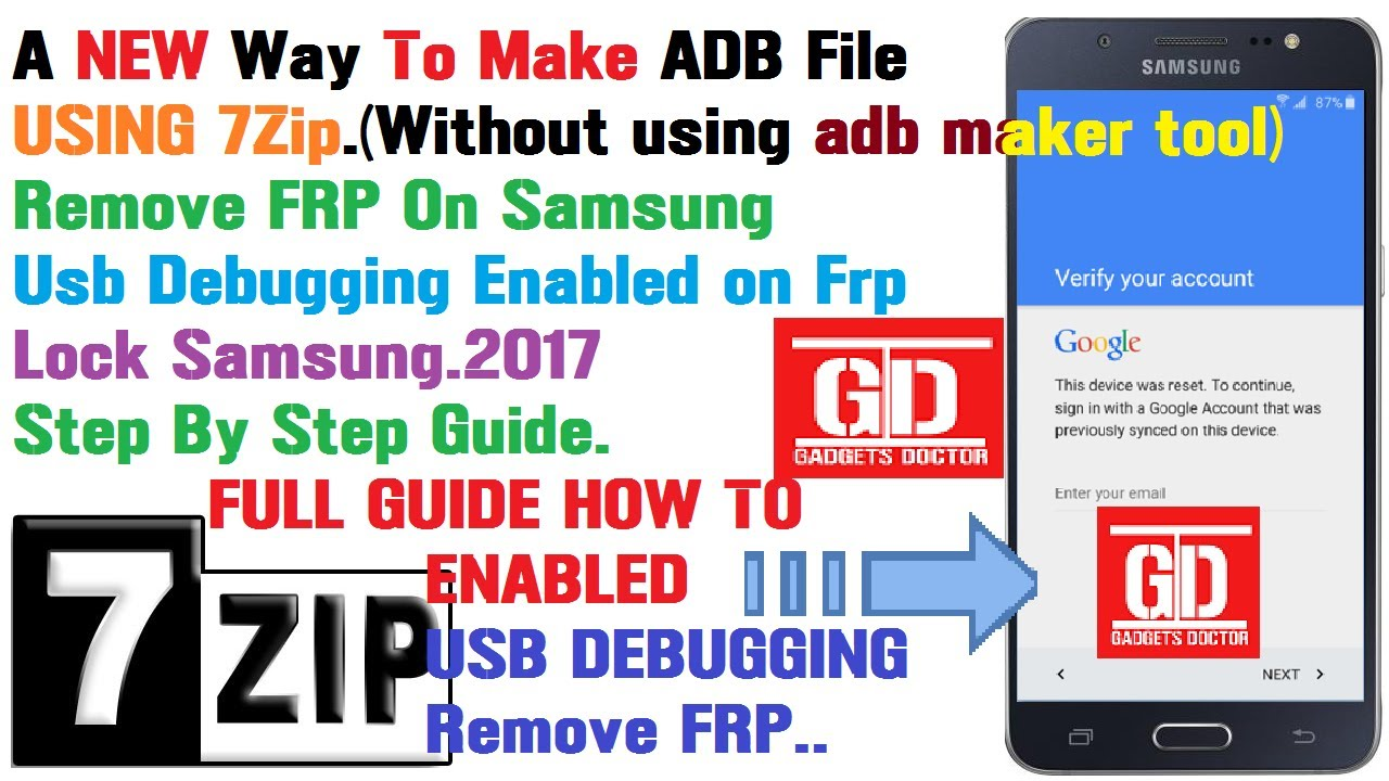 A New Way To make ADB File For Samsung/USB Debugging Enabled for Bypass  Google Account -2017 by Gadgets Doctor