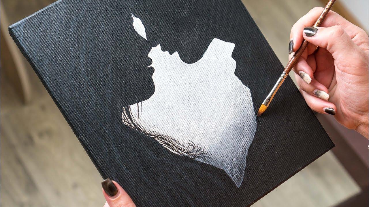 Loving couple in the twilight acrylic painting homemade illustration 4k