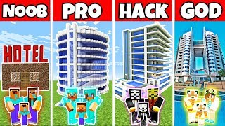 Minecraft Battle: MODERN FAMILY HOTEL BUILD CHALLENGE - NOOB vs PRO vs HACKER vs GOD - Minecraft