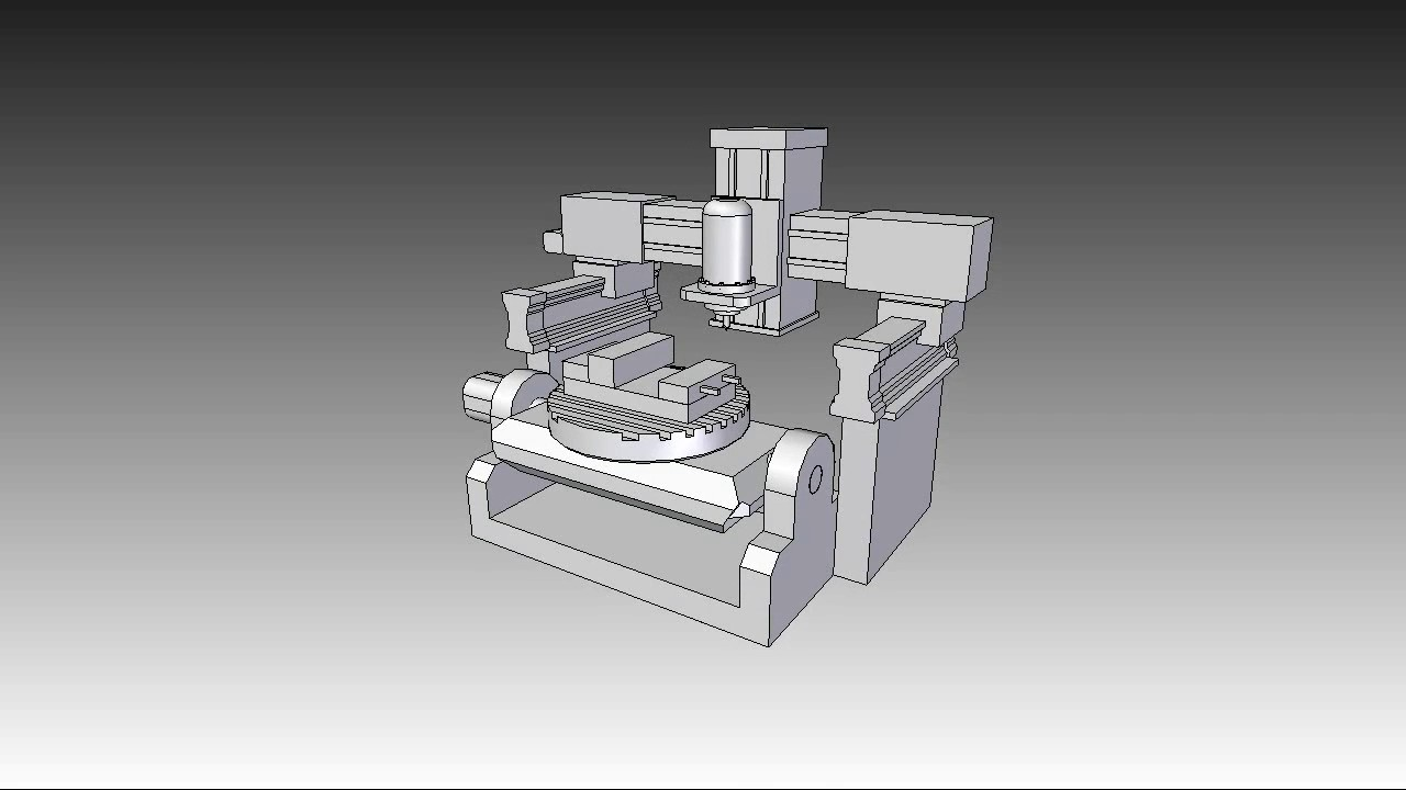 hight resolution of 5 axis machine design concept with animation