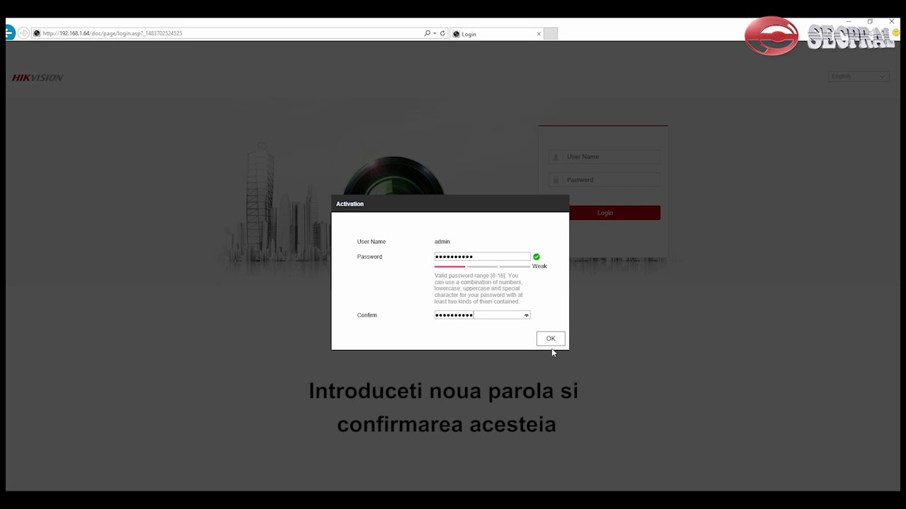 Hikvision IP camera activation using web browser