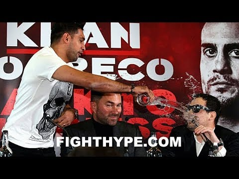 WOW!! AMIR KHAN ERUPTS; NEAR BRAWL WITH PHIL LO GRECO AFTER THROWING WATER IN HIS FACE