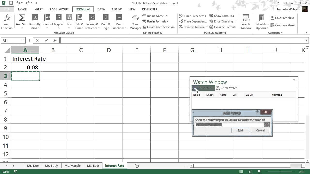 how to use the watch window in excel youtube how to use the watch window in excel