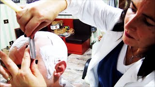 Repeat youtube video Woman barber - Straight Razor Head Shave with massage and hot towel - ASMR sounds