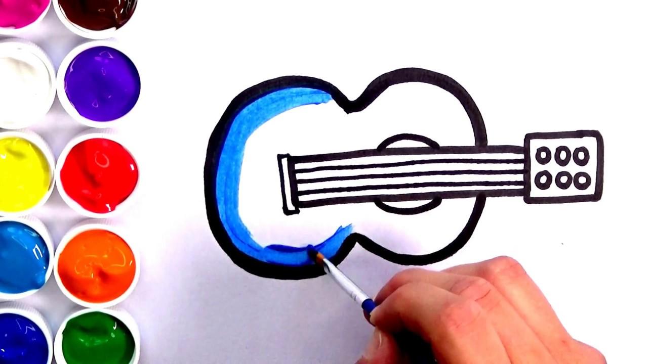 Dibujo De Guitarra Para Niños Como Dibujar Y Pintar Una Guitarra Amiguitos123