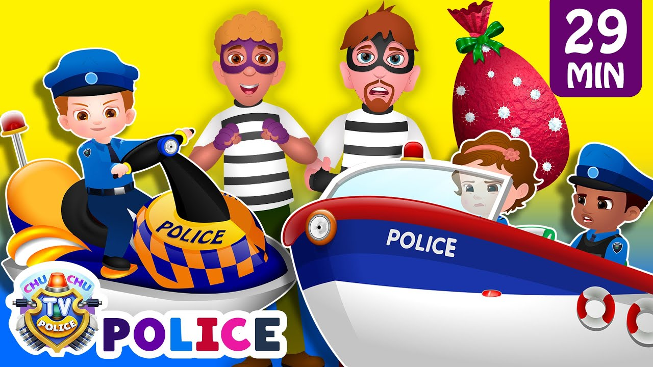 ChuChu TV Police Chase Thief in Police Boat & Save Huge Surprise Egg Toys Gifts from Creepy Ghos