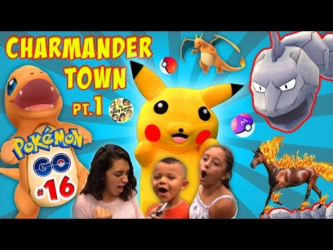PIKACHU in CHARMANDER TOWN!  Family Fun Play Time at the Park (FGTEEV REAL LIFE POKEMON GO Part 16)