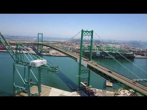 San Pedro California - Vincent Thomas Bridge 4k