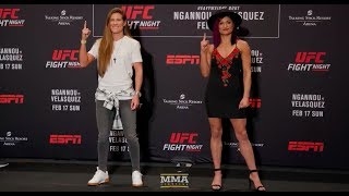 UFC Phoenix: Cortney Casey vs. Cynthia Calvillo Media Day Staredown - MMA Fighting
