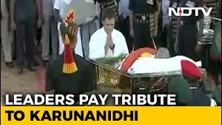 Karunanidhi's Funeral Procession At Marina Beach