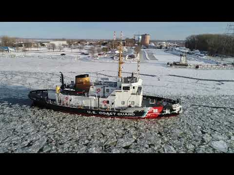 Ice Breaking Operations  Bay of Green Bay Coast Guard Cutter Mobile Bay