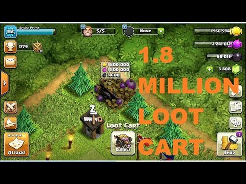 1.8 Million Loot in Cart | Loot Cart Glitch in Clash of Clans | Get Mega Loot Cart 2017