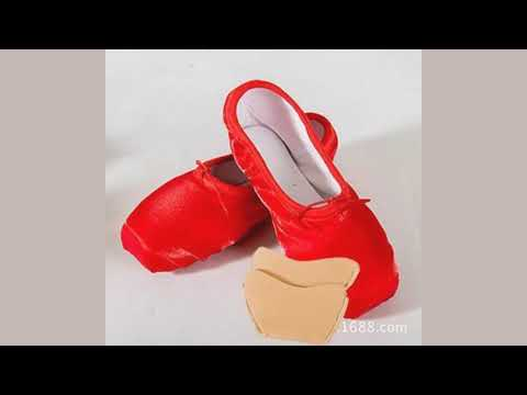Pofessional ballet dance shoes with ribbons