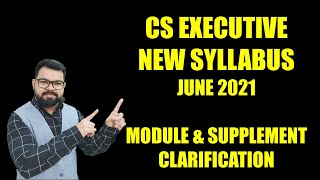 [Hindi] CS Executive New Syllabus June 21 | Clarification on Module & Supplement
