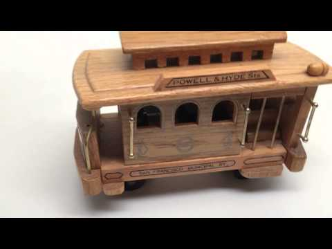 Vintage San Francisco Wood Cable Car Wind-up Music Box, Plays