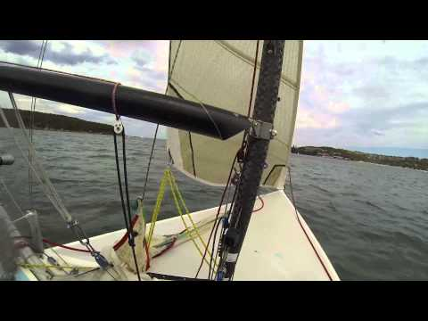Sailing B14 in 20 knots winds at Sydney inner harbour