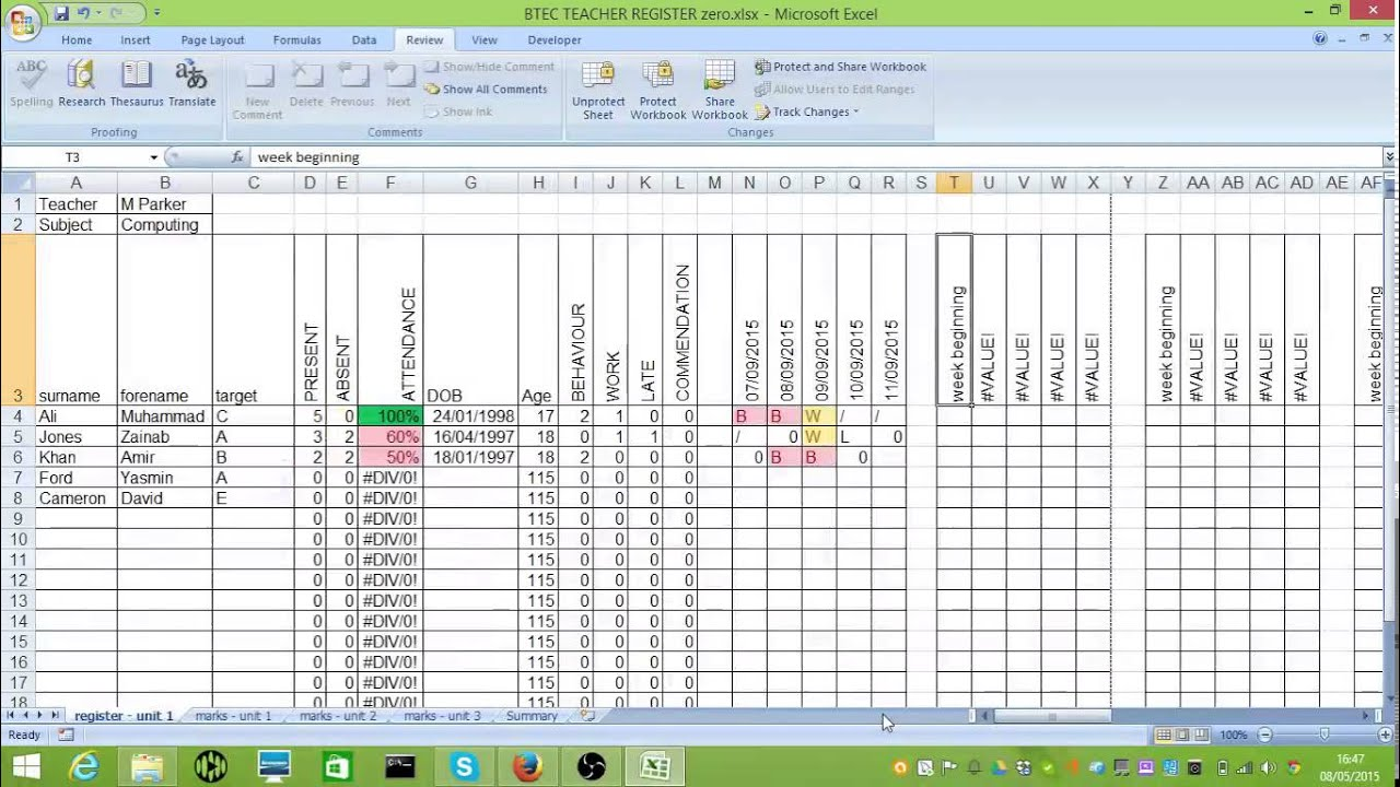 BTEC Tracking Spreadsheet - YouTube