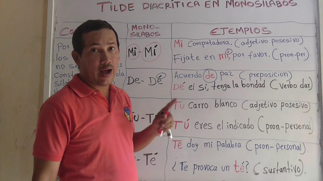 Qué Es Tilde Diacrítica En Monosílabas Ejemplos De Tilde Diacrítica En Monosílabas Youtube