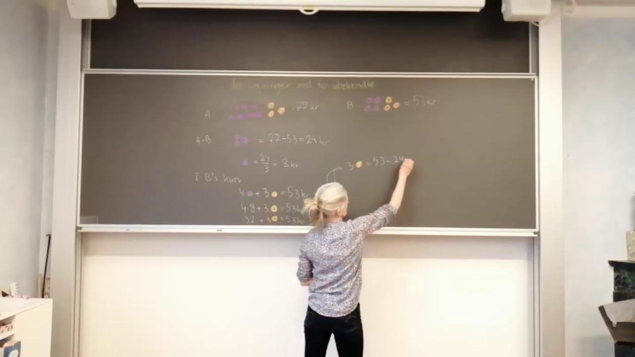 To ligninger med to ubekendte og to hoppebolde