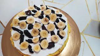 Делаем творожно йогуртовый крем с черносливом и бананам Собираем торт