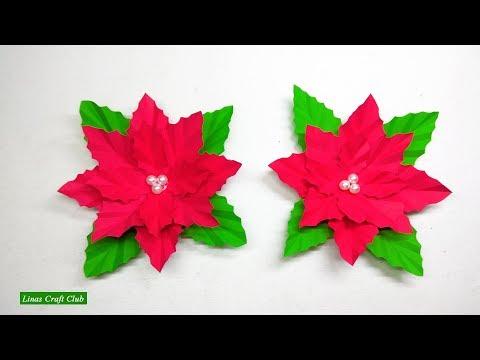 Poinsettia DIY Decor Christmas Decoration DIY Paper Flower by linascraftclub