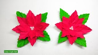 Poinsettia DIY Decor Christmas Decoration DIY Paper Flower by linascraftclub
