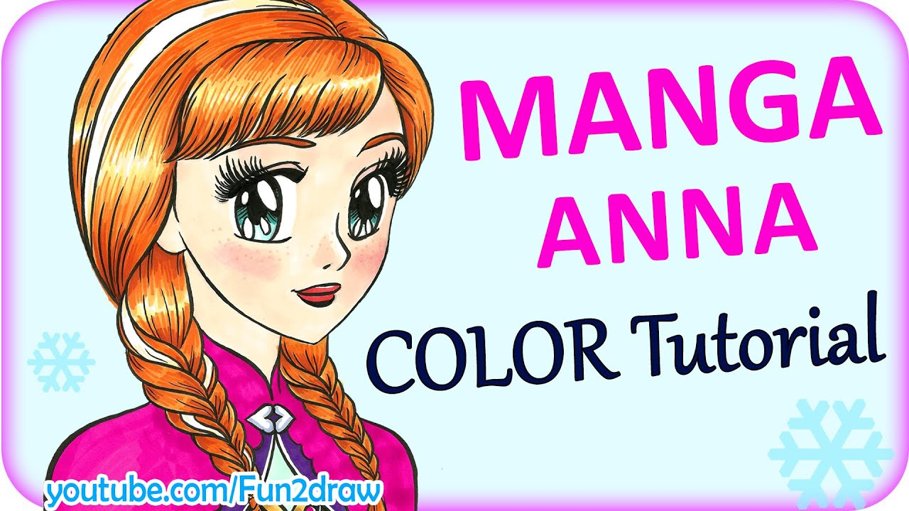 How To Draw A Manga Girl Anna Copic Markers Color Tutorial Fun2draw Online Home School Youtube