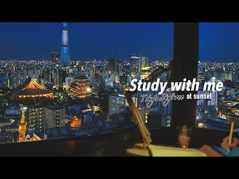 2-HOUR STUDY WITH ME🌃 / calm lofi🎸 + white noise / Tokyo-Skytree at SUNSET / with countdown+alarm