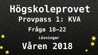Högskoleprovet 2018 Våren Lösningar Pass 1 KVA del 2 Kvantitativa Matte