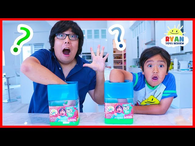 Whats in the box Challenge Slime Edition with Ryan vs Daddy!!!!!