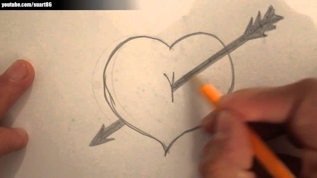 how to draw a heart with a arrow through it youtube