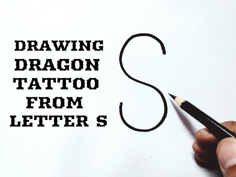 How to draw a tribal dragon tattoo easy from letter S Drawing tribal dragon tattoo design easy ideas