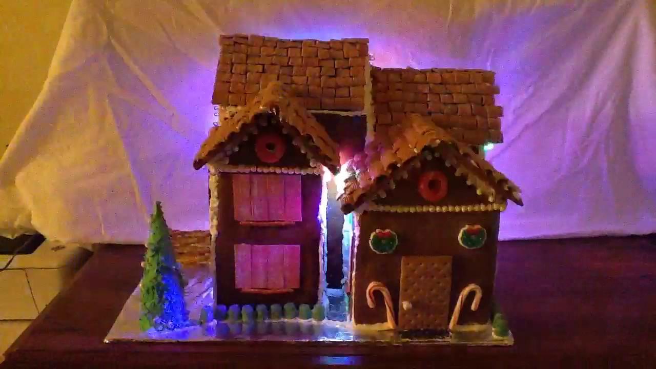 Christmas lights synced to music on gingerbread house for Christmas house music