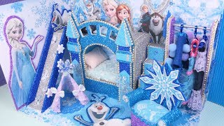 DIY Miniature Frozen Disney Dollhouse Kids  bedroom Decor Elsa and Anna Princess