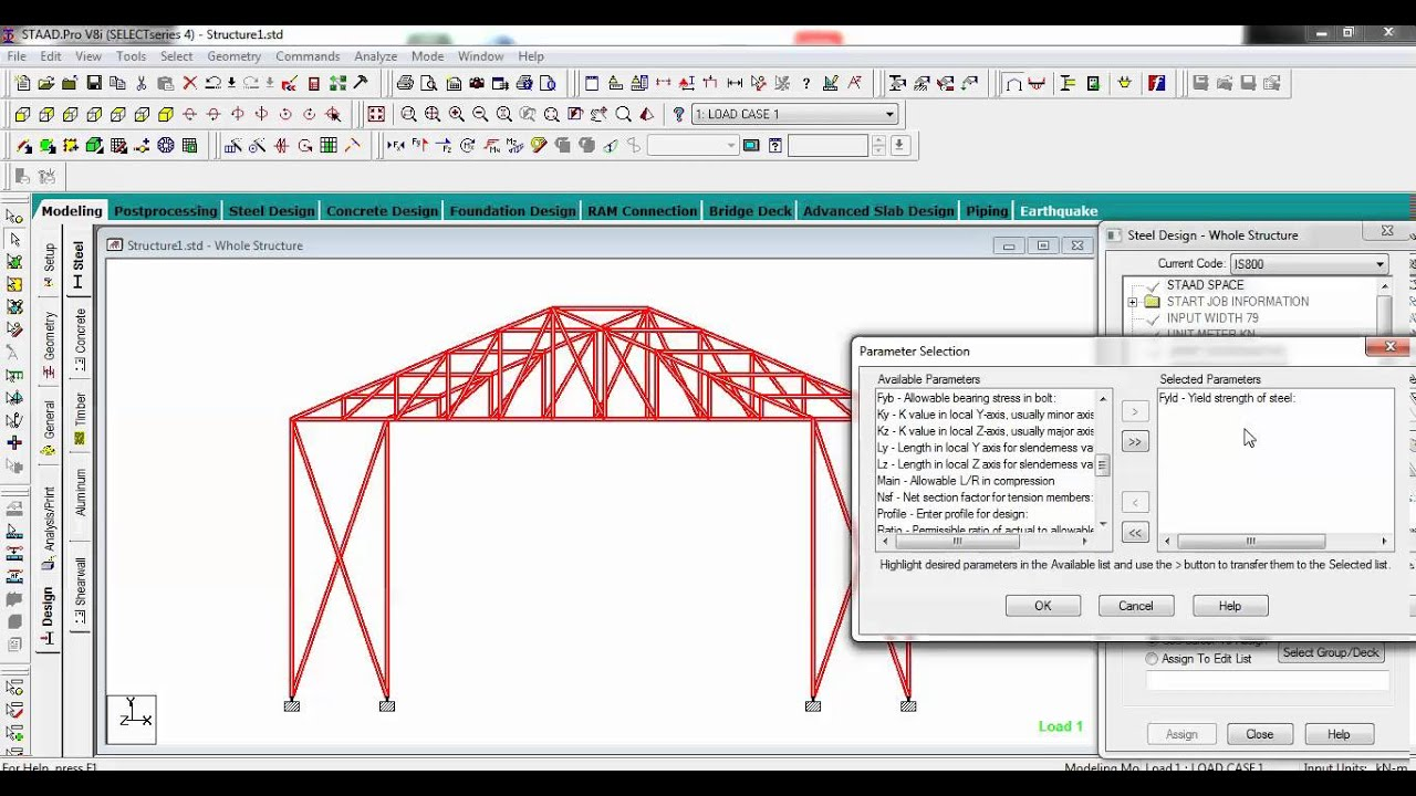 Staad Pro Interactive Steel Design using truss best explained in detail