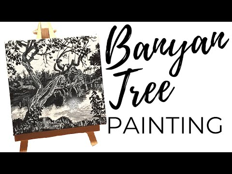 Painting Tutorial / Black And White Acrylic Painting Demo (Timelapse)