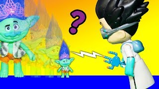 PJ Masks Romeo Use his Invention to Shrink Trolls Poppy and Branch and Guy Diamond