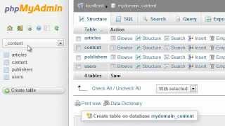 How to drop tables from a database in phpMyAdmin