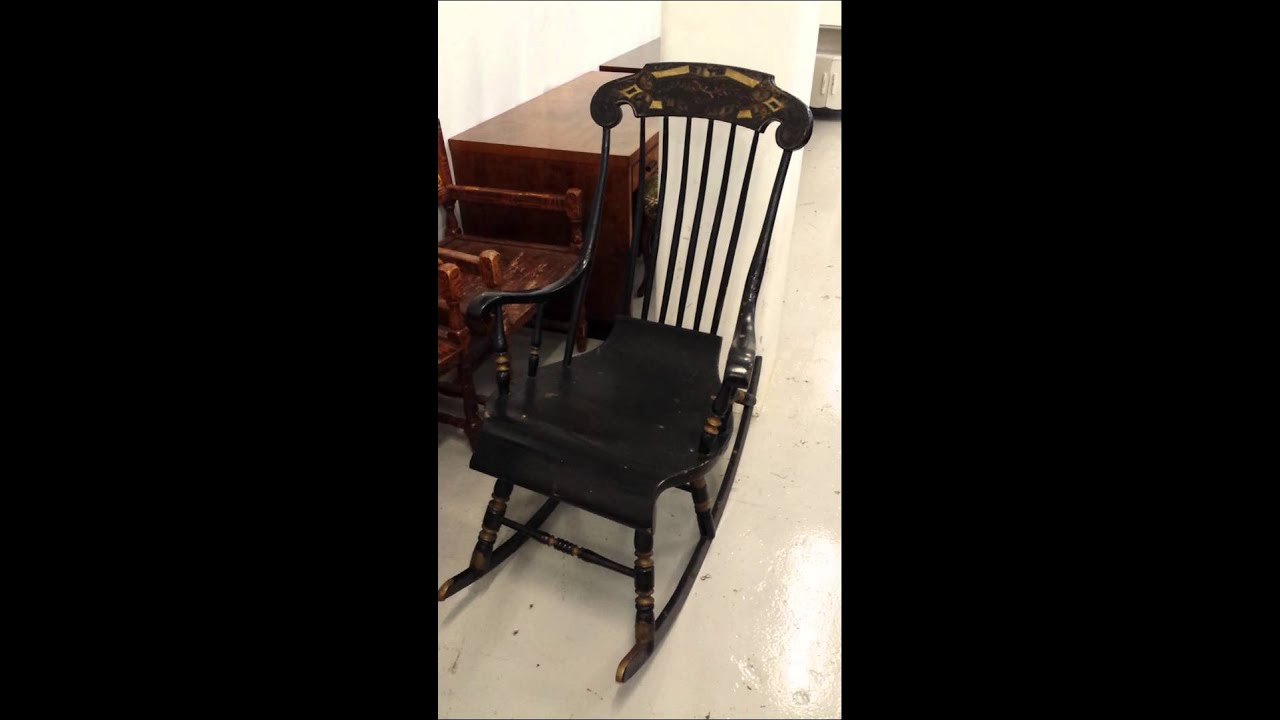 antique swedish black gungstol rocking chair for sale  WWW.SWEDISHINTERIORDESIGN.CO.UK - YouTube - Antique Swedish Black Gungstol Rocking Chair For Sale WWW