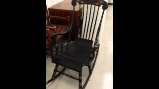 Antique swedish black gungstol rocking chair for sale WWW.SWEDISHINTERIORDESIGN.CO.UK