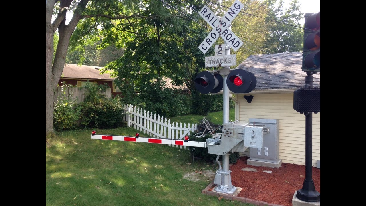 Backyard railroad crossing signal and gate test run youtube
