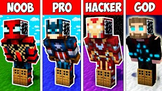 Minecraft NOOB vs PRO vs HACKER vs GOD : SUPER BLOCK BASE INSIDE HEROES in Minecraft
