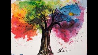 Video Rainbow Tree Watercolor Painting download MP3, 3GP, MP4, WEBM, AVI, FLV Agustus 2018