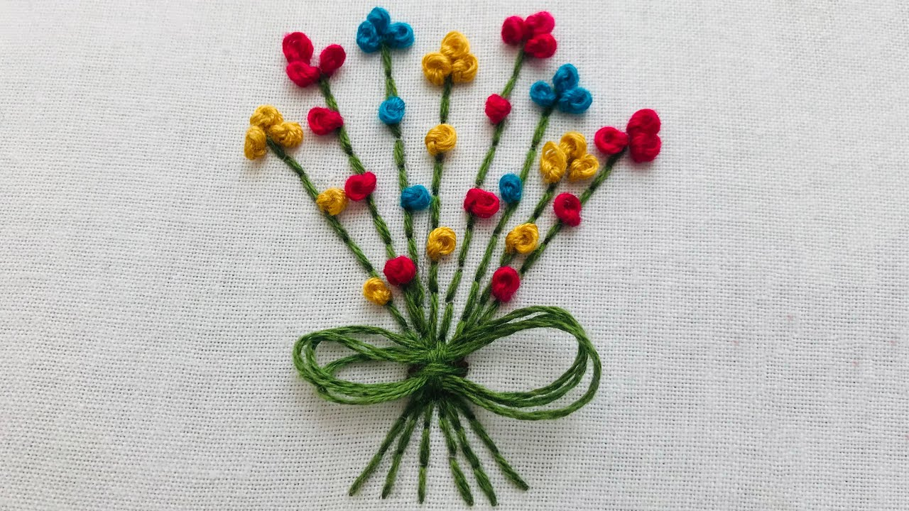 Hand Embroidery: Mini Bouquet Embroidery - Pettite Flower Embroidery - Embroidery For Baby Cloth
